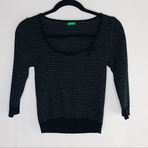 Benetton, Made in Italy wool blend cropped sweater
